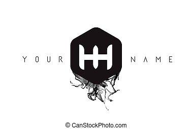 HH Letter Logo Design with Black Ink Spill - HH Black Ink...