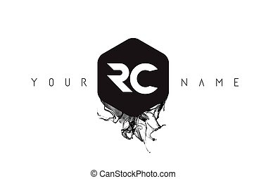 RC Letter Logo Design with Black Ink Spill - RC Black Ink...