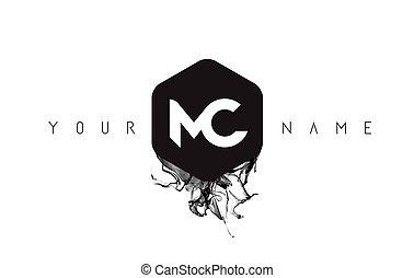 MC Letter Logo Design with Black Ink Spill - MC Black Ink...