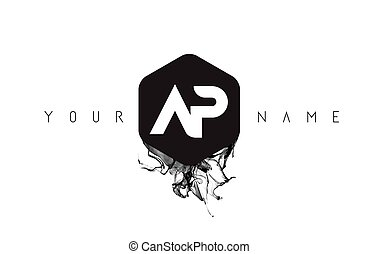 AP Letter Logo Design with Black Ink Spill - AP Black Ink...