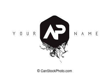 AP Letter Logo Design with Black Ink Spill - AP Black Ink...