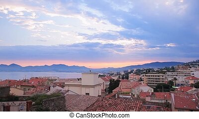 Cannes just before dawn. View over the rooftops of the city....