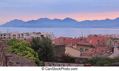 Cannes just before dawn. View over the rooftops of the city.