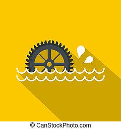 Big waterwheel icon, flat style - Big waterwheel icon. Flat...