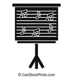 Whiteboard with music notes icon, simple style - Whiteboard...