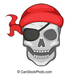 Pirate skull in bandane icon, cartoon style - Pirate skull...