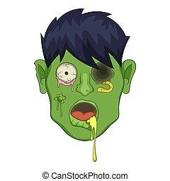 Zombie head icon, cartoon style - Zombie head icon. Cartoon...