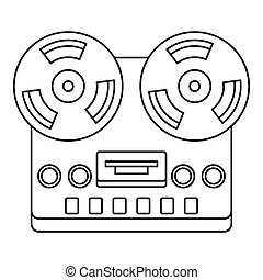Analog stereo open reel tape deck recorder icon. Outline...