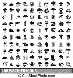 100 weather icons set in simple style for any design...