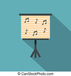 Music stand with piano notes icon, flat style - Music stand...