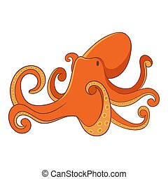 Octopus icon, cartoon style - Octopus icon. Cartoon...