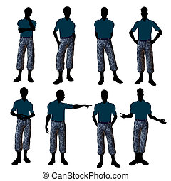 African American Male Soldier Illustration Silhouette -...
