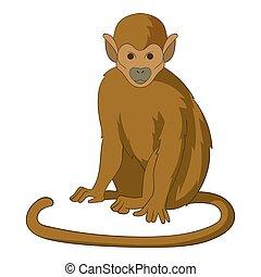 Snub nosed monkey icon, cartoon style - Snub nosed monkey...