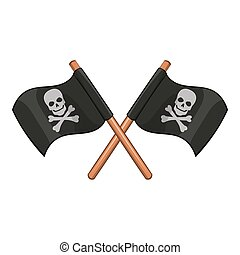 Crossed pirate flags icon, cartoon style - Crossed pirate...