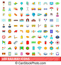 100 railway icons set, cartoon style - 100 railway icons set...