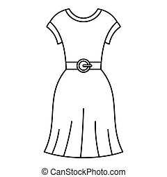 Female dress with belt icon, outline style