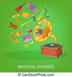 Musical instruments green concept, cartoon style - Musical...
