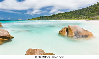 Rock And Beach Timelapse, Seychelles - Long exposure...
