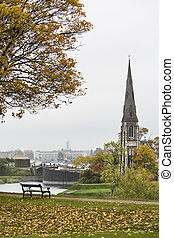 St. Alban's Church and Park in Copenhagen, Denmark on a gray...