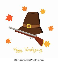 Thanksgiving Pilgrim Hat and Hunting Rifle Vector