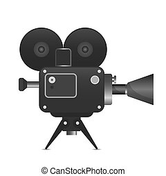 Retro movie projector with abstract light rays vector...