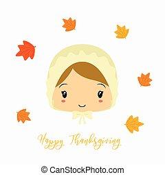 Thanksgiving Pilgrim Girl Character