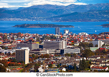 Stavanger view above - View of the cityscape of Stavanger in...