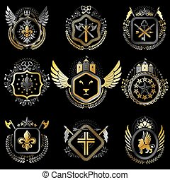 Heraldic decorative emblems made with royal crowns, animal illustrations, religious crosses, armory and medieval castles. Collection of symbols in vintage style.