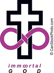 Immortal God conceptual logo design combined with infinity...