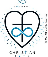 Immortal Love of God conceptual symbol combined with...
