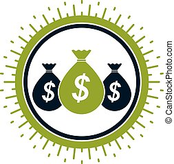 Moneybags with Dollar signs, vector icon. Investment,...