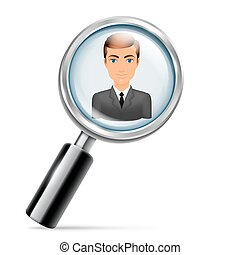 Searching for Job - Magnifying glass focused on young...