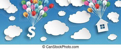 Paper Clouds Striped Blue Sky Balloons Dollar House Header -...