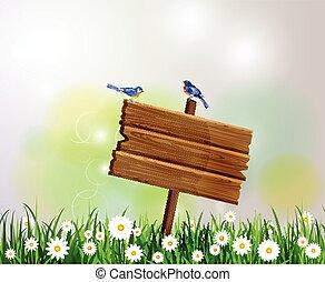 advertisement wooden board on a loan