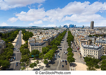 Paris skyline Champs Elysees and La Defense - Paris skyline...