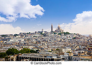 Paris skyline and sacre coeur cathedral France - Paris...
