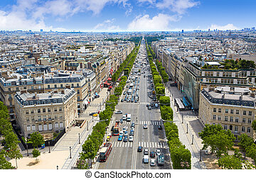Paris skyline Champs Elysees and Concorde aerial view in...