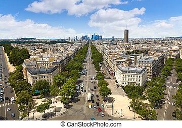 Paris skyline Champs Elysees and La Defense - Paris skyline...