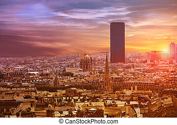 Paris skyline aerial view France