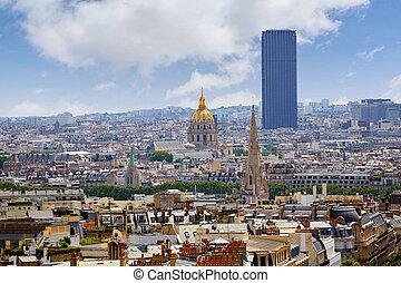 Paris skyline Invalides golden dome France - Paris skyline...