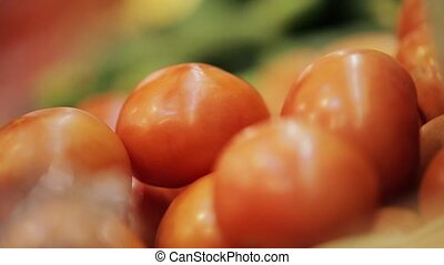 Tomatos on market shelfs - Market: Choice of tomato