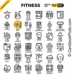 Fitness line icon set - Fitness, sport, gym, health detailed...