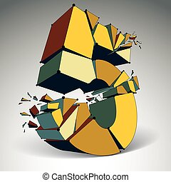 Abstract vector low poly wrecked number 5 with black lines and dots connected. 3d origami demolished futuristic colorful font with lines mesh.