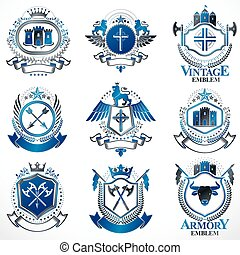 Vector classy heraldic Coat of Arms. Collection of blazons...