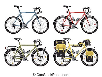 Configurations of trekking bicycles. Vector. - Four...