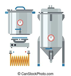 Home brewing factory production items. Vector. - Home...