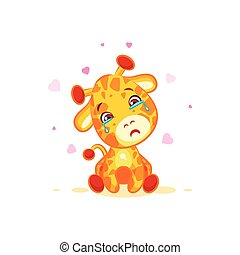Emoji crying tears character cartoon Giraffe miss you sad...