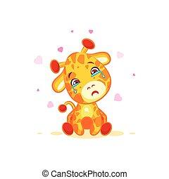 Emoji crying tears character cartoon Giraffe miss you sad...