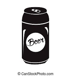 Isolated beer can silhouette - Isolated silhouette of a beer...