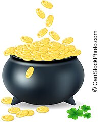 pot with gold coin for Patrick's day. vector illustration isolated on white background EPS10